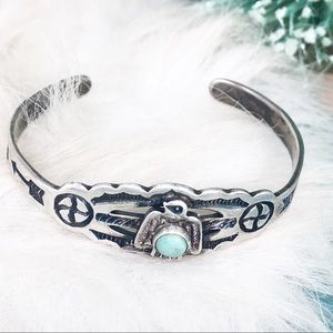 Sterling Turquoise Southwest CHILD'S Cuff Bracelet